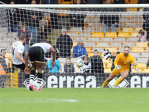 Ben Alnwick watches the ball in the second penalty for Port Vale