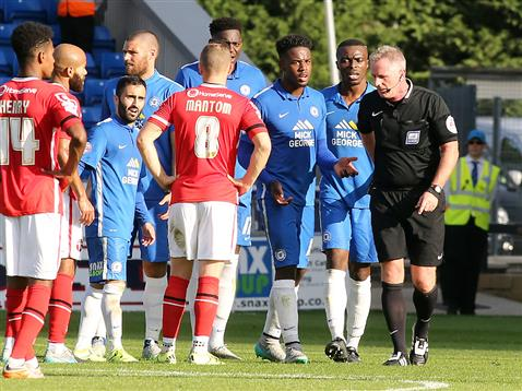 Both teams bemused by referee Mark Heywood for sending off Jermaine Anderson