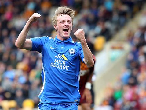 Chris Forrester celebrates his first Posh goal v Bradford 2