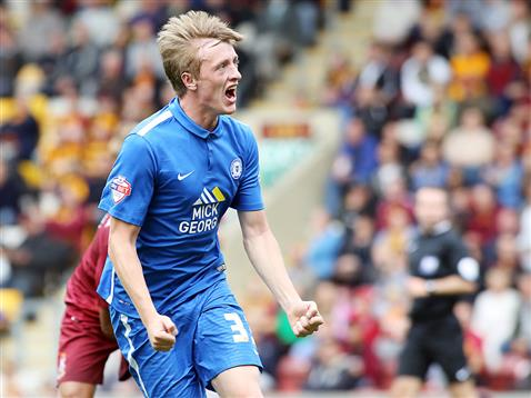 Chris Forrester celebrates his first Posh goal v Bradford