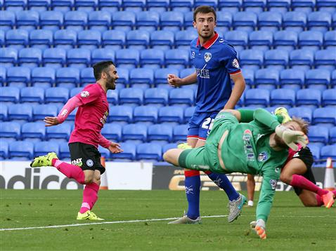 Erhun Oztumer celebrates scoring v Oldham