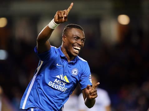 Gaby Zakuani celebrates his second goal v Bury 2