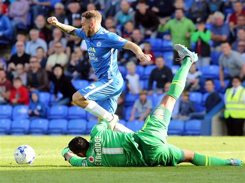 Jon Taylor almost brought down by the Walsall goalkeeper