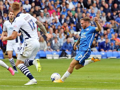Jon Taylor hits his first goal v Millwall