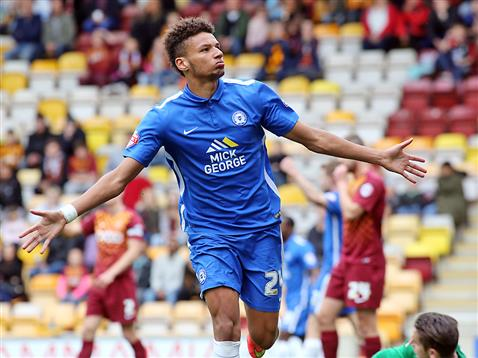 Lee Angol celebrates his goal v Bradford