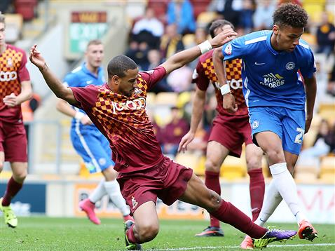 Lee Angol taps in goal one v Bradford