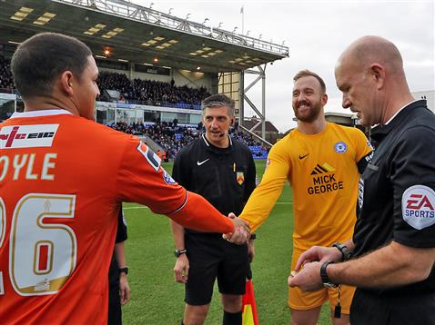 Referee Nigel Miller with Ben Alnwick and the Luton captain