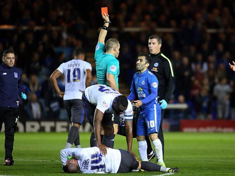 Referee Steve Martin shows Erhun Oztumer a red card v Bury 2