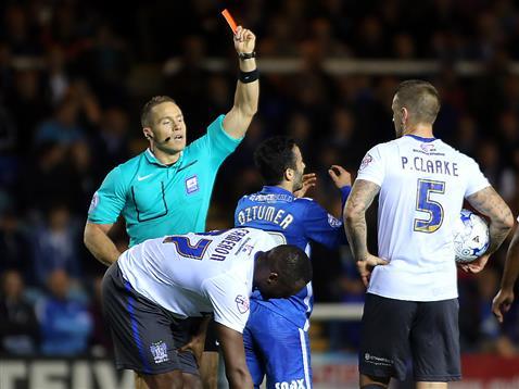 Referee Steve Martin shows Erhun Oztumer a red card v Bury