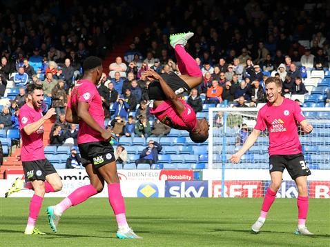 Souleymane Coulibaly celebrates his second goal with a flip v Oldham 2