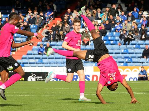 Souleymane Coulibaly celebrates his second goal with a flip v Oldham