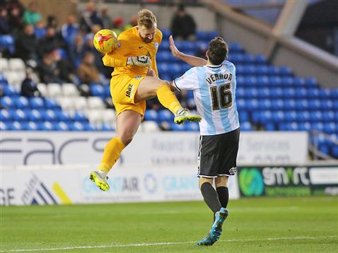 Ben Alnwick heads the ball clear v Shrewsbury