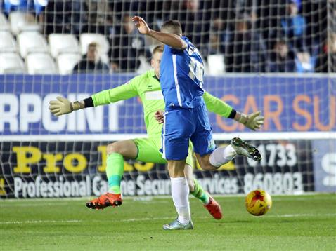 Conor Washington opens the scoring v Shrewsbury 2