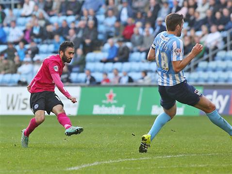 Erhun Oztumer scores goal number 2 for Posh v Coventry 2