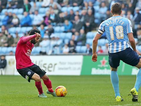 Erhun Oztumer scores goal number 2 for Posh v Coventry