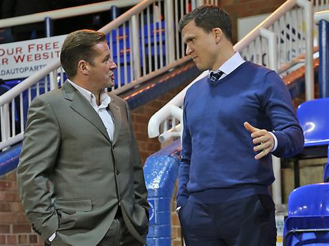 Graham Westley with Wigan manager Gary Caldwell