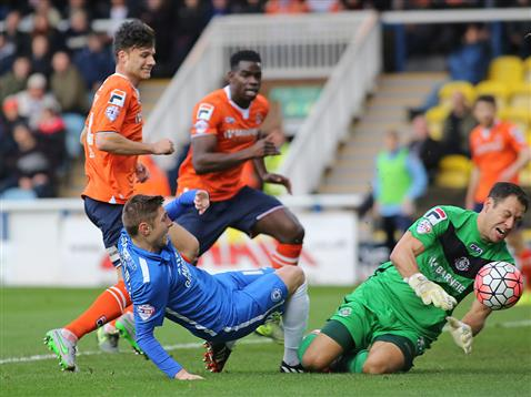 Harry Beautyman denied by former Posh keeper Mark Tyler v Luton