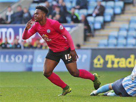 Jermaine Anderson celebrates scoring the opening goal v Coventry