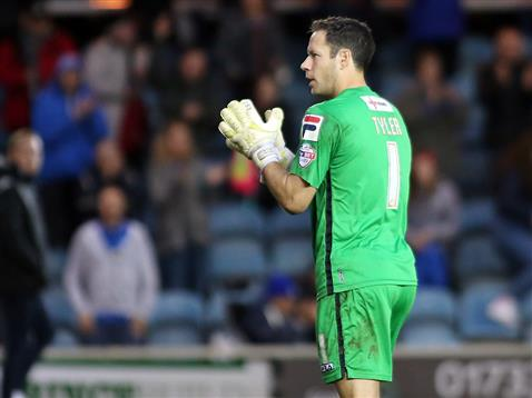 Lutons Mark Tyle applauds the Posh crowd at the end of the FA Cup match