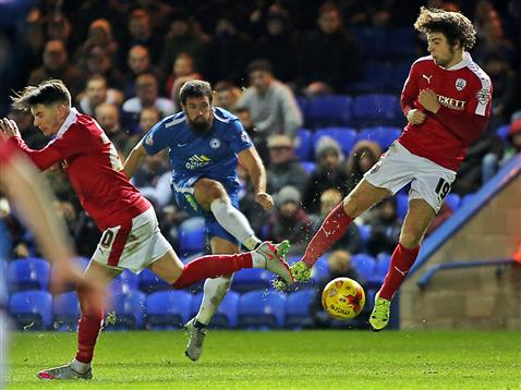 Michael Bostwick nearly scores v Barnsley