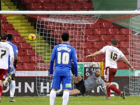 Ben Alnwick beaten as Sheffield Uniteds Billy Sharp smashes an undeserved penalty down the middle of the goal