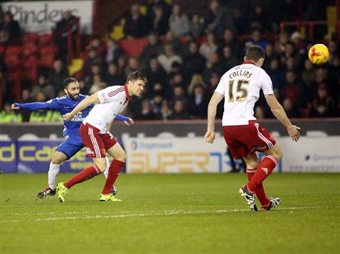 Erhun Oztumer strikes goal two v Sheffield United 2