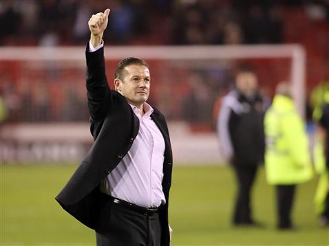 Graham Westley thumbs up to fans after win over Sheffield United