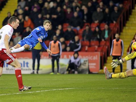 Martin Samuelsen scores after a mazy run v Sheffield United 2