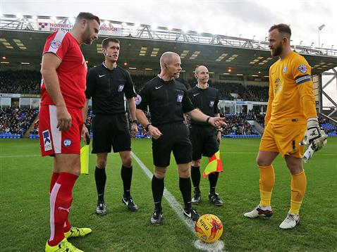 Referee Andy Woolmer with Ben Alnwick and the Chesterfield captain