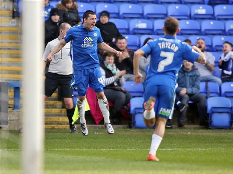 Aaron Williams celebrates scoring on his full debut v Port Vale