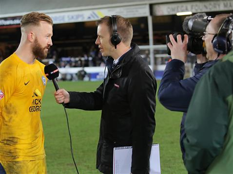 Ben Alnwick being interviewed on Sky TV after the win over Coventry