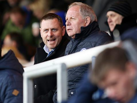 Darragh MacAnthony and Barry Fry watch the defeat to Swindon