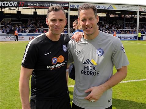 Dave Farrell and Mark Tyler after the final match of the season v Blackpool