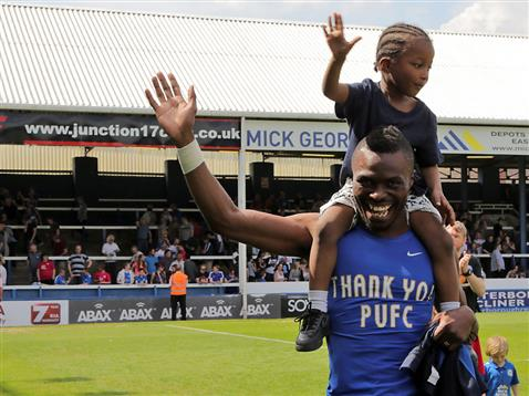 Gaby Zakuani waves farewell to Posh fans after final game of season v Blackpool 2