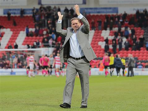 Graham Westley applauds the fans and the late win v Doncaster