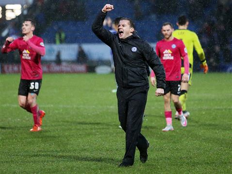 Graham Westley celebrates at the end of the win over Chesterfield