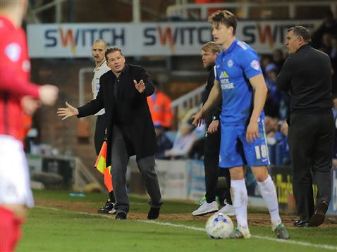 Graham Westley giving instructions to Andrew Fox v Coventry