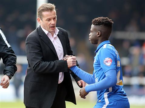 Graham Westley introduces Leo Da Silva Lopes from the bench v Swindon