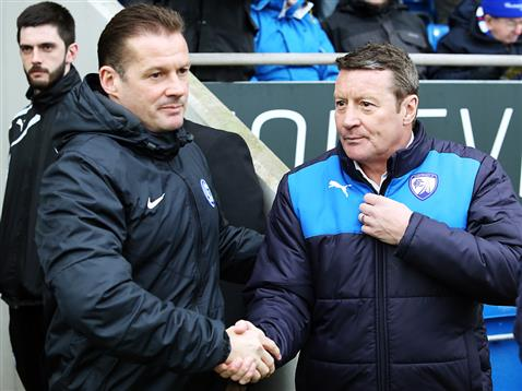 Graham Westley shakes hands with Chesterfield manager Danny Wilson