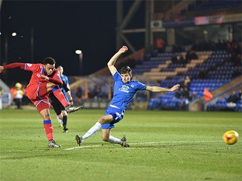 Jack Baldwin fails to block an Oldham effort