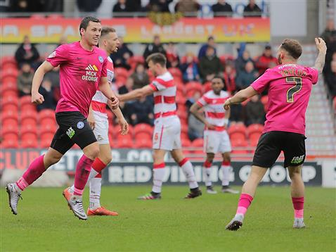 Jon Taylor celebrates Aaron Williams goals v Doncaster