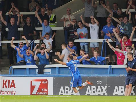 Jon Taylor celebrates his hattrick goal v Blackpool