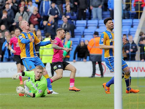 Jon Taylor looks disappointed as he scores the winner v Shrewsbury