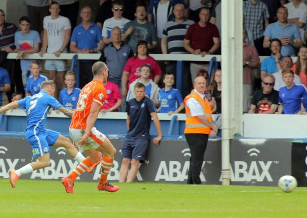 Jon Taylor scores his hattrick goal v Blackpool