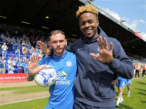Jon Taylor with his first ever senior hattrick ball with Jermaine Anderson v Blackpool