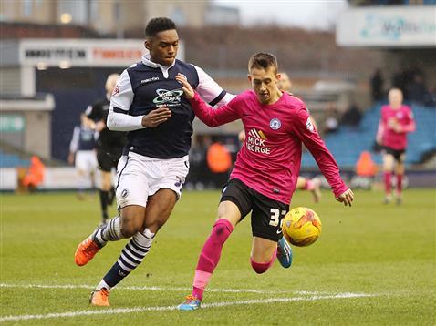 Jordan Nicholson makes his debut for Posh v Millwall