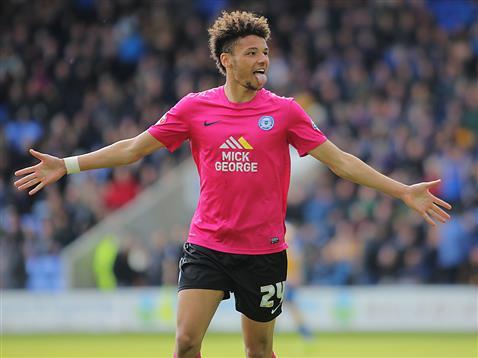 Lee Angol celebrates his first goal v Shrewsbury