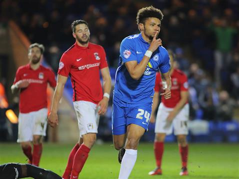 Lee Angol celebrates his goal v Coventry