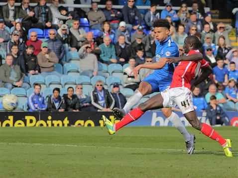 Lee Angol strikes a sweet shot for goal 3 v Crewe
