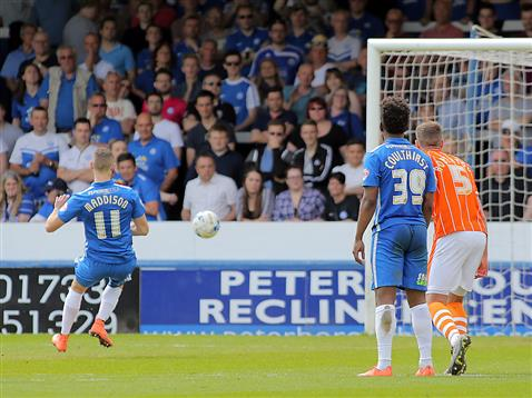 Marcus Maddison slots away a penalty v Blackpool